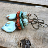Artisan Lampwork Earrings. Mint Green, Turquoise and Orange Stacked Earrings