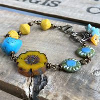 Yellow & Blue Czech Glass Bracelet. Whimsical Bird Bracelet. One of a Kind