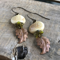 Rustic Copper Leaf Earrings. Prairie Leaf Earrings. Pastel Ceramic Earrings