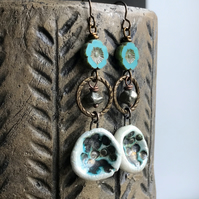 Bohemian Artisan Ceramic Earrings. Turquoise & Bronze Earrings. Pyrite Earrings