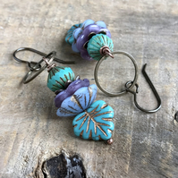 Czech Glass Maple Leaf Earrings. Purple & Turquoise Stacked Earrings