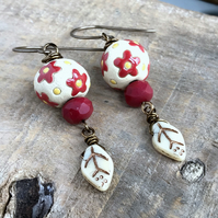 Red & Yellow Artisan Ceramic Earrings. Red Flower Earrings. Bohemian Earrings