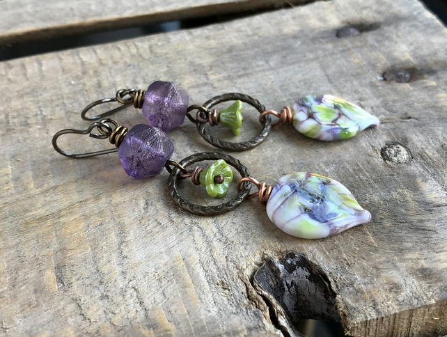 Purple & Chartreuse Green Earrings. Artisan Lampwork Earrings. Long Earrings