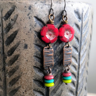Multi Colour Czech Glass Beaded Earrings. Red Flower Earrings. Bohemian Earrings