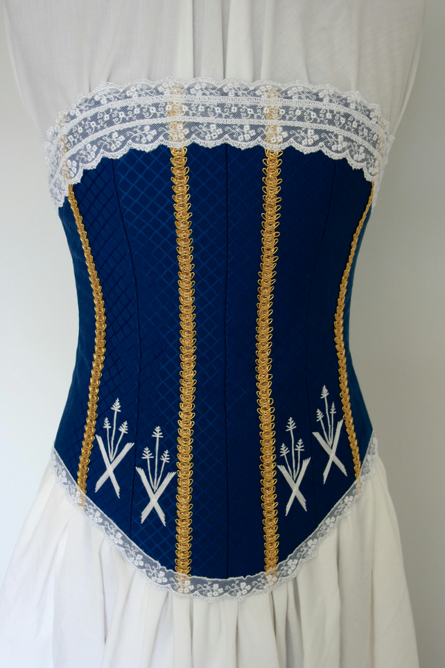 Blue corset with wheat sheaf motifs