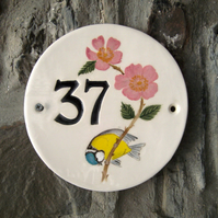 "Hand made hand painted ceramic house number to order, 7"" diameter approx."