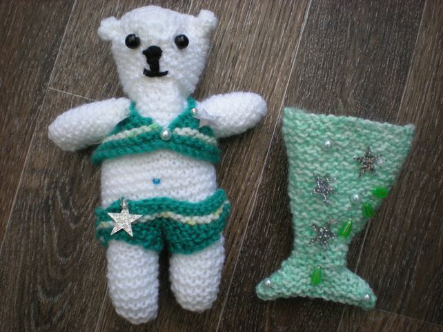 Hand Knitted Decorative Bear Pearl Mermaid inspired approx 8 inches high
