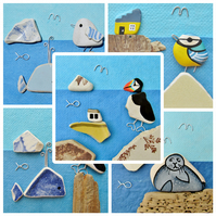 Beach Art Greetings Cards (Pack of 5) Seaside, Puffin, Seagull, Nautical, Whale