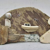 Seagull, Boat & Lighthouse Driftwood Ornament. Scottish Pebble Beach Pottery Art