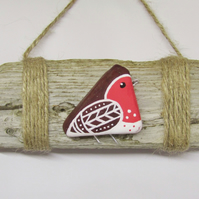 Christmas Driftwood Pottery Robin Hanging Twine Sign. Scottish Pebble Beach Art.