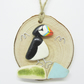 Puffin Beach Pottery Wood Hanger. Scottish Seaside Pebble, Coastal Crafts & Art