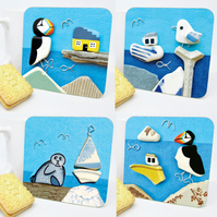4 x Seaside Drinks Coasters - Beach Art, Seagull, Puffin, Boat, Seal