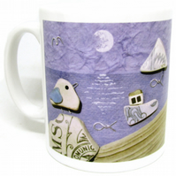 Seaside Mug & Gift Box - Seagull, Boat, Lighthouse - Handmade Coastal Pebble Art