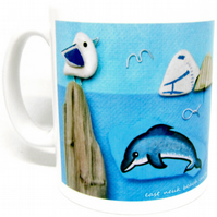 Seaside Mug & Gift Box - Seagull, Boat, Dolphin - Handmade Coastal Pebble Art