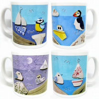 4 x Seaside Mugs & Gift Boxes - Seagull, Puffin, Boat, Whale, Seal, Blue Tit