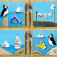 4 x Seaside Placemats - Pebble Coastal Beach Art, Seagull, Puffin, Boats