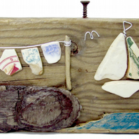 Pebble Seagull, Sailing Boat & Antique Beach Pottery Art - Driftwood Ornament