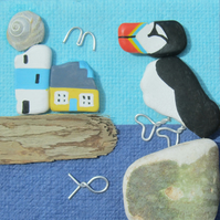 Framed Beach Pebble Art : Puffin & Lighthouse - Sea Pottery & Driftwood Picture