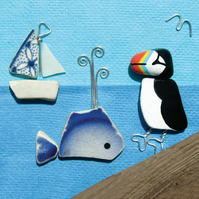 Framed Seaside Prints & Pictures - Puffin, Whale, Boat - Scottish Pebble Art