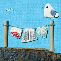 Framed Seaside Prints & Pictures - Seagull & Washing Line - Scottish Pebble Art