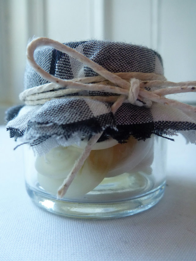 Recycled Button Jar - Cream - Craft and Sewing