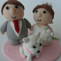 wedding cake topper with dog - custom made - personalised