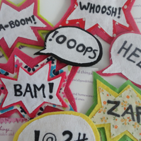 comic strip badge stocking filler