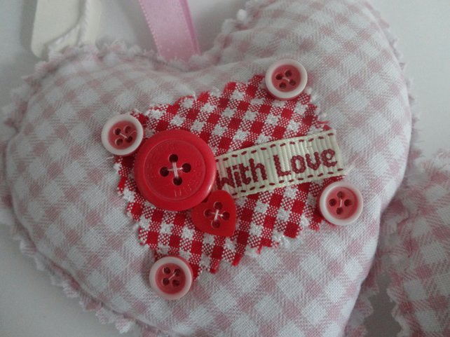 pink fabric love hearts