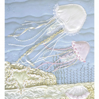 Jellyfish print - Limited edition giclee print of textile artwork