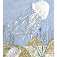 Jellyfish picture - Limited edition giclee print of textile artwork