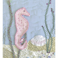 Pastel Seahorse art picture print - gift for new baby or birthday or Christening