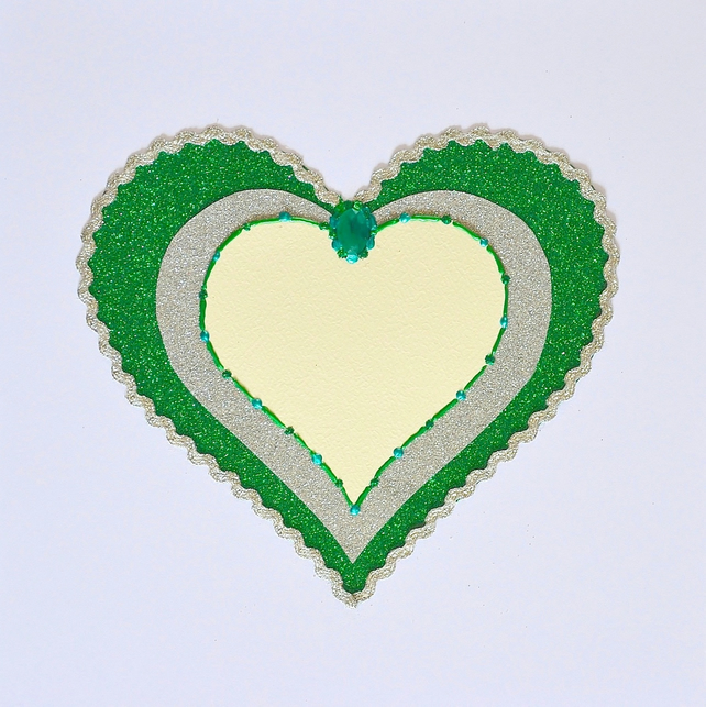 SALE Birthday card - large size glitter emerald heart birthday card, boy, girl,