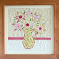 Handcrafted summery floral appliqué  picture - flowers in jug