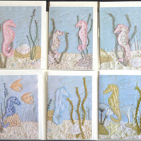 Birthday card pack 12 - greetings card seahorse, jellyfish, child, boy, girl