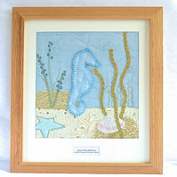 Personalised Framed Blue 'Seahorse' embroidered fabric artwork picture