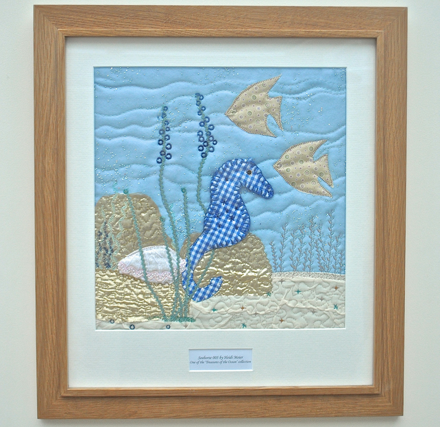 Personalised fabric seahorse picture