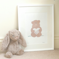 16 by 12 inch Personalised Teddy bear print picture