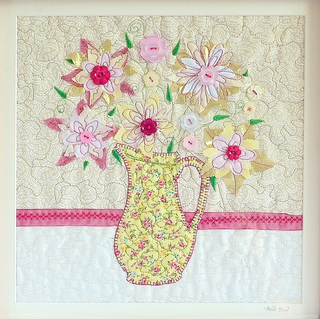 Romantic gift - floral appliqué  picture - flowers in jug