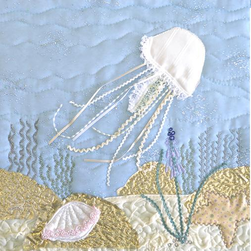 Pastel jellyfish sealife appliqué picture