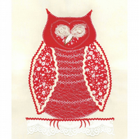 Folk Art A4 Little Red owl unframed and unmounted picture