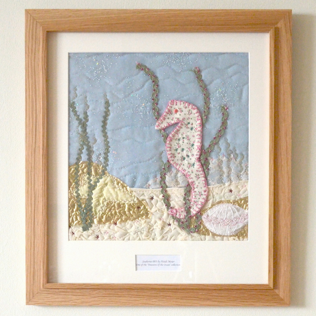 Large personalised 'Seahorse' embroidered fabric artwork picture