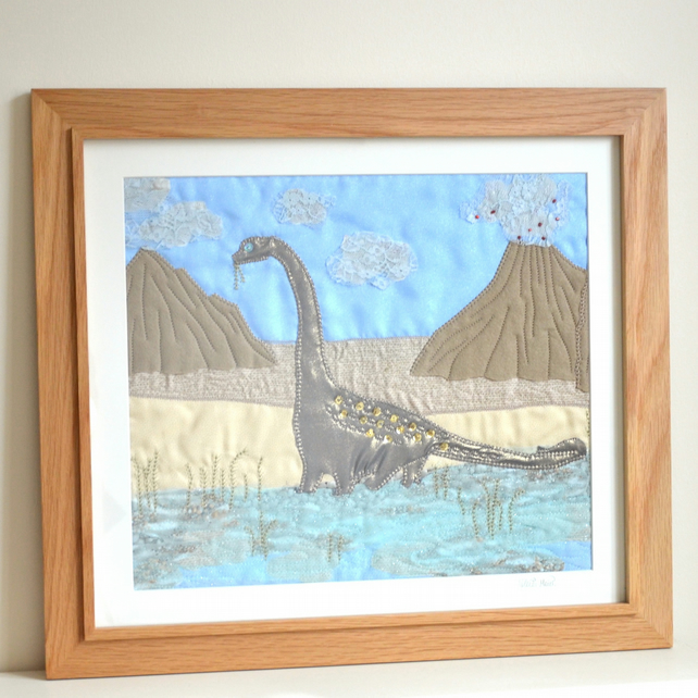 Large Dinosaur textile art appliqué picture - Christening, birthday or new baby