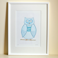 SALE Owl picture - mounted blue owl print wall art - boy child girl