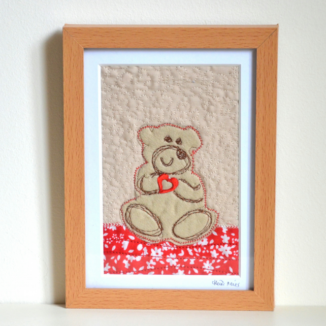 Teddy bear fabric unframed picture