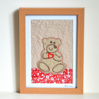 SALE - original textile art Teddy bear fabric unframed picture