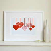 SALE Red Hearts picture print - A4 unframed wall art embellished print