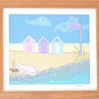 Beach Huts - large embroidered artwork seaside beach picture