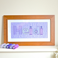 Valentines day gift - Embroidered fabric Love picture