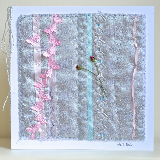 Silver 25 wedding anniversary textile card