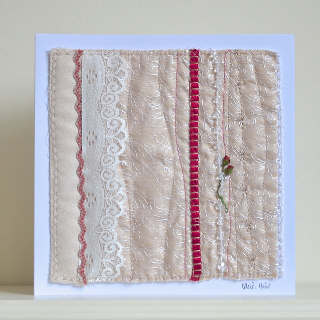 Handcrafted Valentines day textile keepsake card